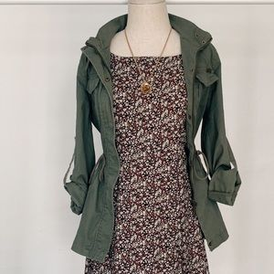 Army Green Lightweight Draw String Trench Jacket